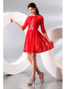 Red Short Middle Sleeves Lace Homecoming Dress:1st-dress.com