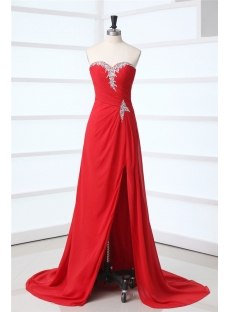 Red Thigh Slit Plus Size Prom Dress