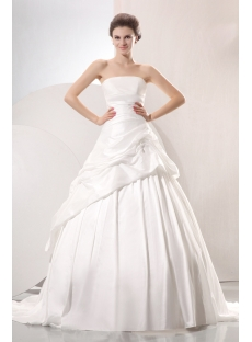 Romantic A-line Strapless Pick up Princess Wedding Dress
