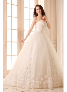 Romantic Flowers Sweetheart Ball Gown Wedding Dress 2014