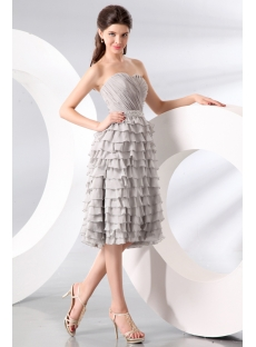 Romantic Gray Chiffon Tea Length Graduation Dress with Sweetheart