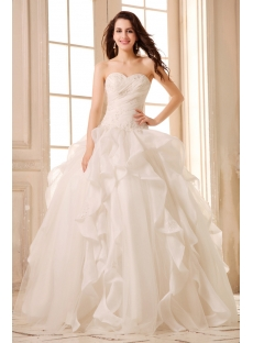 Romantic Ivory Beaded Sweetheart Ruffled Ball Gown Wedding Dress