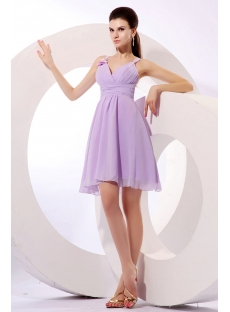 Romantic Lavender Short Summer Bridesmaid Gown
