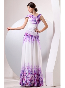 Romantic Long Flower Print Evening Dress