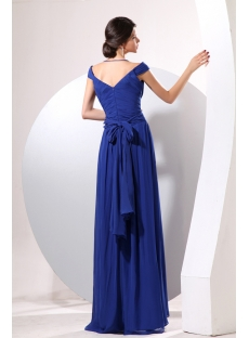 Royal Blue Long Off Shoulder Military Party Gown