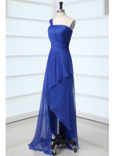 Royal One Shoulder Asymmetrical Prom Dress