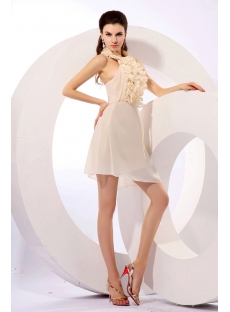 Ruched Champagne Chiffon Homecoming Dress