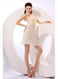 Ruched Champagne Chiffon Homecoming Dress