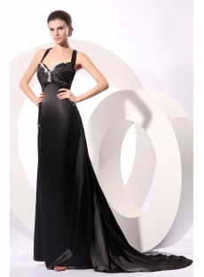 Sexy Black Long Formal Plus Size Prom Dress with Criss-cross