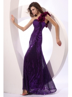 Shimmer Purple Sequins One Shoulder Prom Dresses