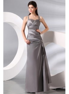 Silver A-line Sexy Evening Dress with Keyhole