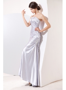 Silver Satin Ankle Length Pretty Prom Gown with One Shoulder