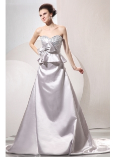 Silver Sweetheart Western Elegant Bridal Gown with Train