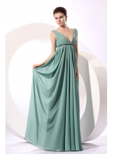 Simple Sage Plunge V-neckline Long Chiffon Maternity Evening Dress