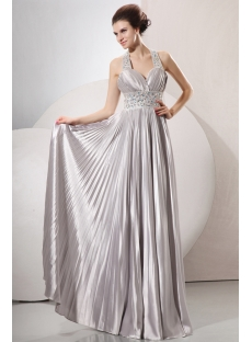 Sophisticated Beaded Halter Silver Plus Size Informal Prom Gowns