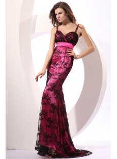 Spaghetti Straps Black and Fuchsia Long Sheath Evening Dress with Train