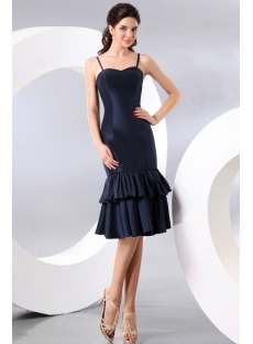 Spaghetti Straps Navy Blue Tea Length Taffeta Homecoming Dress
