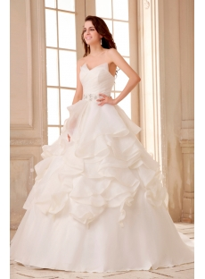 Spectacular Ruffled Ball Gown Wedding Dress with Train