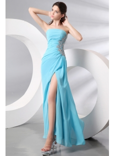Strapless Sky Blue Slit Celebrity Dress