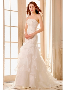 Sweetheart Long Ruffled Organza Mermaid Wedding Dress with Train