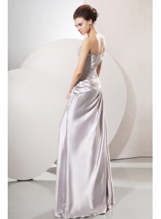 Terrific Beaded Silver Satin Long Military Evening Dress