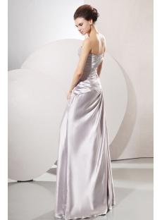 Terrific Beaded Silver Satin Long Military Evening Dress