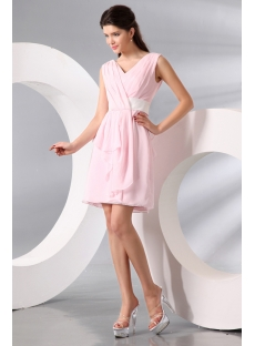 Timeless Pink Chiffon V-neckline Short Homecoming Dress