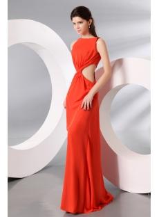 Unique Burnt Orange Sexy Evening Dress