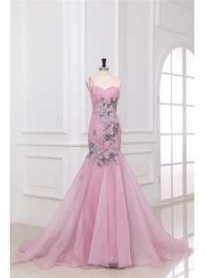 Unique Dusty Rose One Shoulder Mermaid Prom Dresses