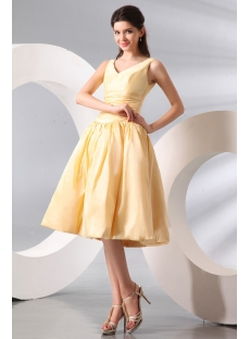 Vintage Champagne A-line Taffeta Junior Prom Dress