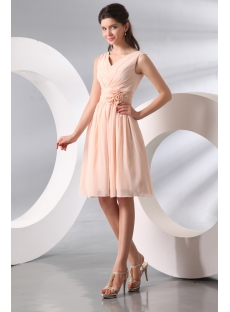 Vintage Chiffon V-neckline Short Junior Bridesmaid Gown