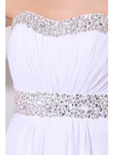 White Sexy Backless Sweetheart Long Chiffon Prom Dress for Summer
