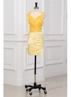 Yellow Flower Mini Junior Prom Dresses