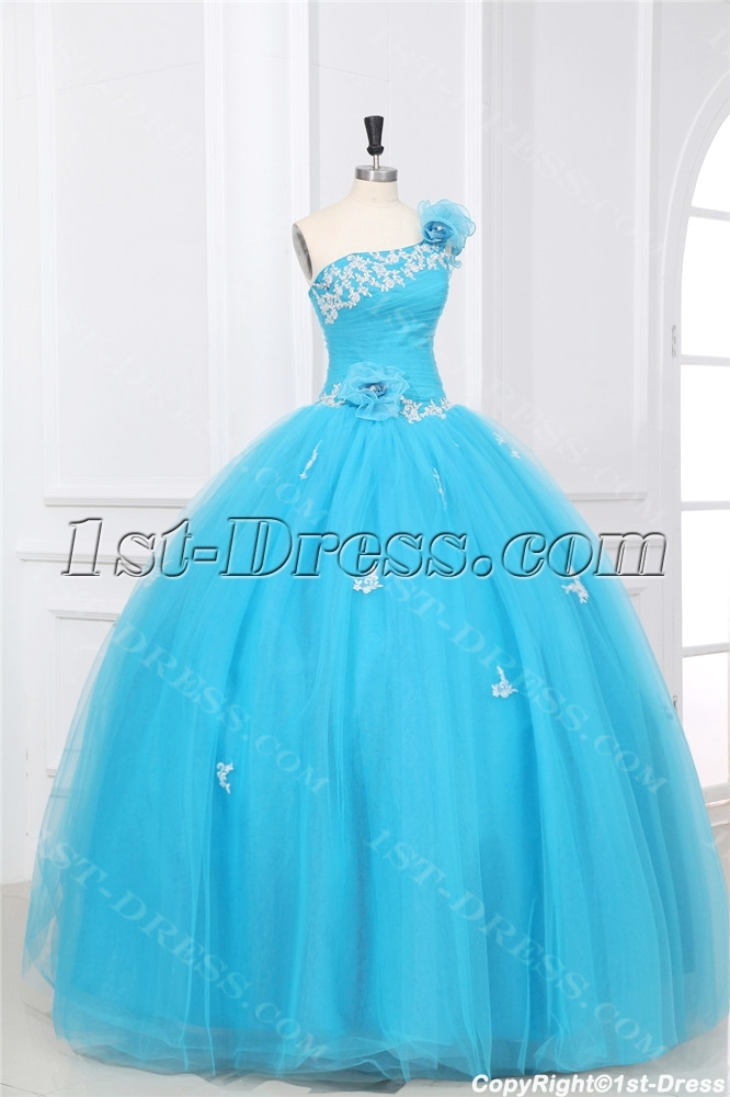 Aqua One Shoulder Puffy 2014 Quinceanera Dresses With