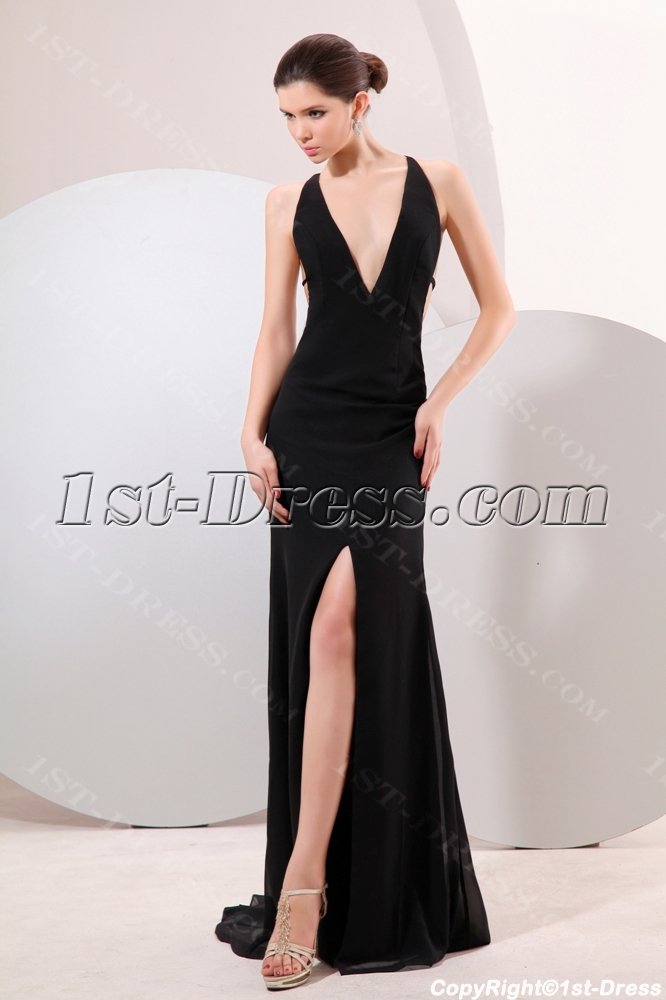 Black Plunge V-neckline Backless Evening Dress:1st-dress.com