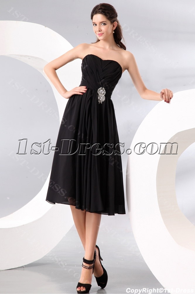 Black Short Sweetheart Chiffon Bridesmaid Gowns Under 100 Loading Zoom