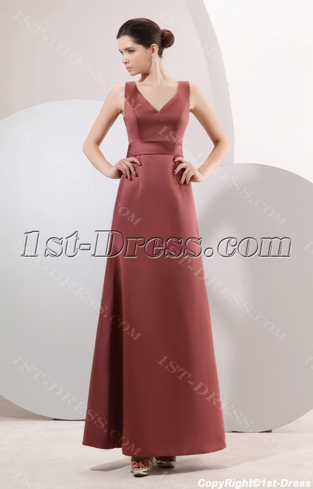 Brown long simple bridesmaid dress inexpensive under 100 for Long wedding dresses under 100