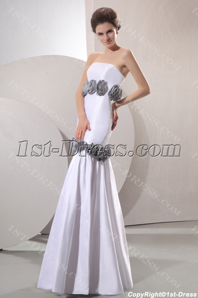 Cheap strapless flowers white and silver sheath bridal for Cheap sheath wedding dresses