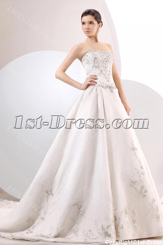 Chic Embroidery Organza A-line Ball Gown Wedding Dress:1st-dress.com