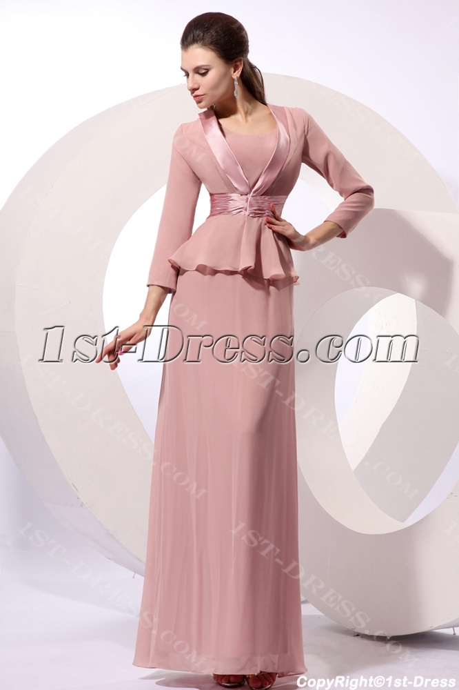 Dusty Rose Modest Long Chiffon Mother Of Brides Dress With Jacket Loading Zoom