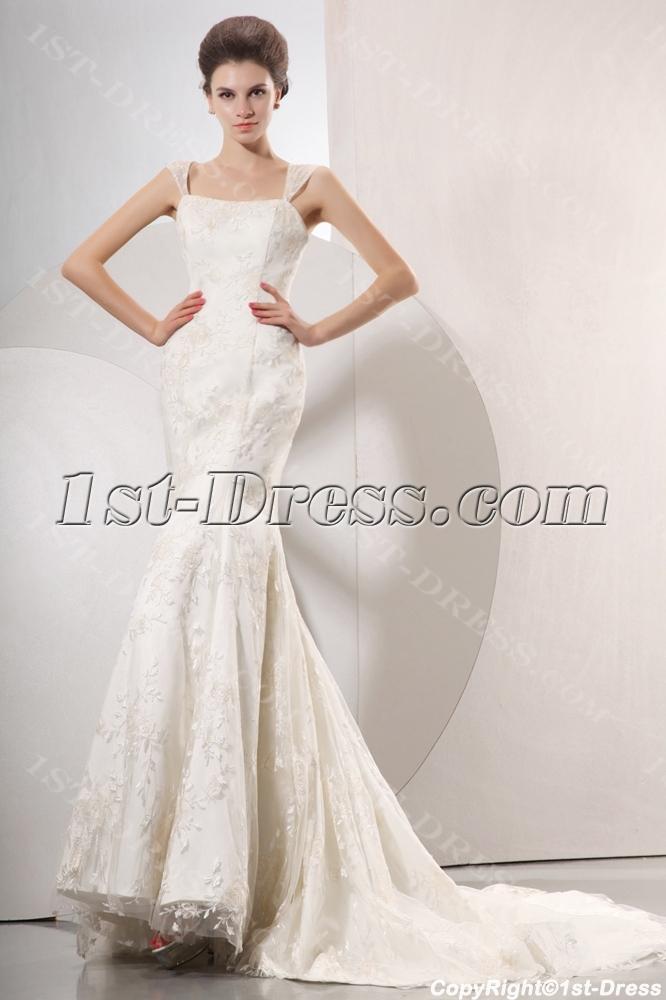 Elegant Cap Sleeves Mermaid Style Lace Wedding Gowns1st Dress