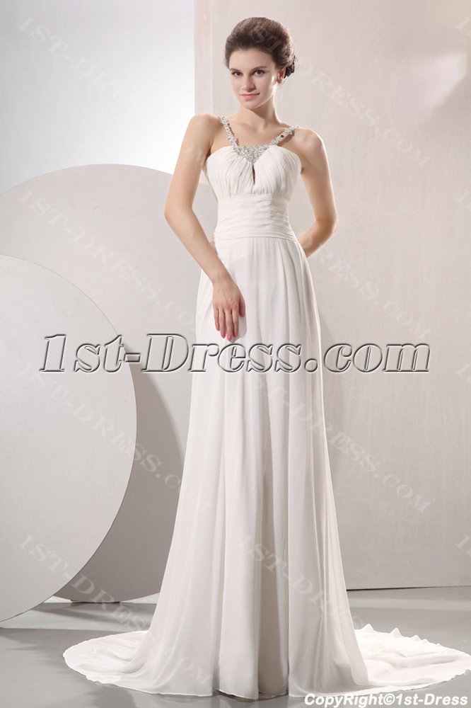 Elegant Flowing Chiffon Beach Wedding Dress:1st-dress.com