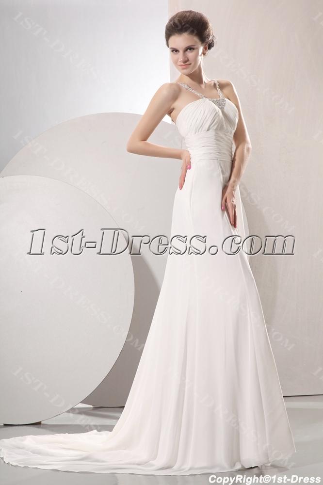 58051f834d0a Elegant Flowing Chiffon Beach Wedding Dress (Free Shipping)