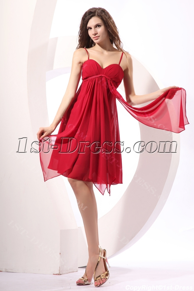Fancy Burgundy Short Maternity Bridesmaid Dress Loading Zoom