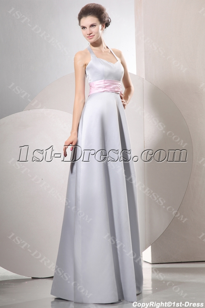 Halter Modest Satin Long Bridesmaid Dresses With Pink Ribbon Loading Zoom