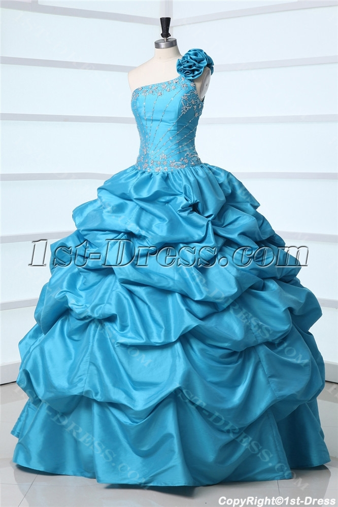One Shoulder Turquoise Pick up Masquerade Ball Gown:1st-dress.com