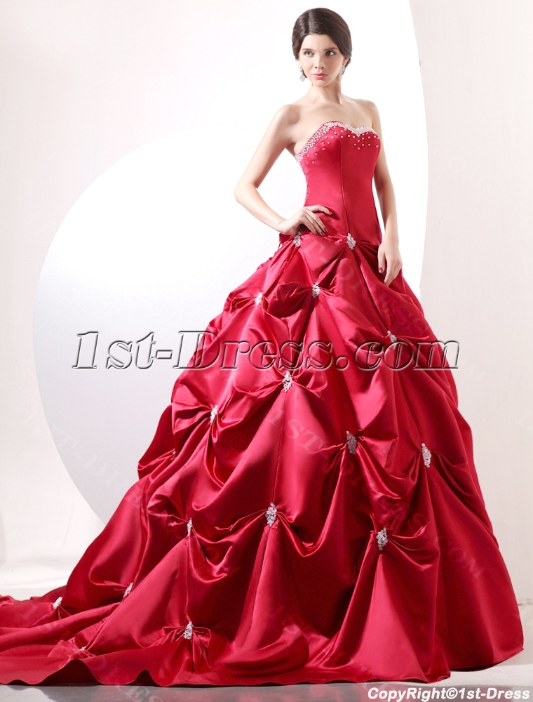 Wedding Dress With Red Corset : Red luxury corset princess wedding gown dress st