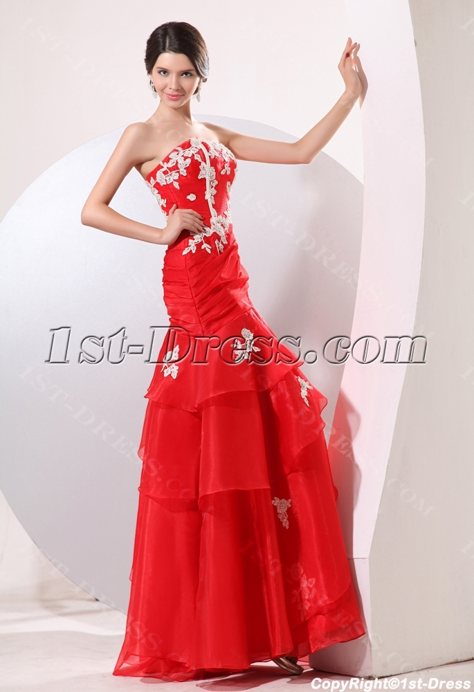 Red Organza Long Strapless Mermaid Best Quinceanera Gown:1st-dress.com