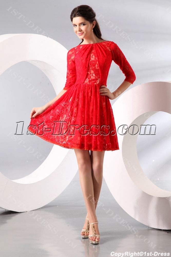 Red Short Middle Sleeves Lace Homecoming Dress1st Dress
