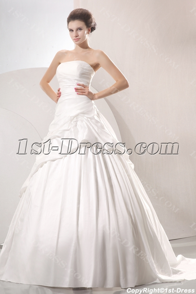 143a124ae4035 Romantic A-line Strapless Pick up Princess Wedding Dress (Free Shipping)